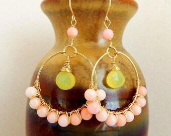 Angelskin Coral Chalcedony Hoop Earrings - AdoniaJewelry