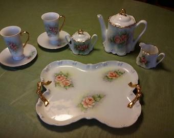 Vtg Unmarked Possible Bavaria Signed 10 Piece Porcelain Pink Floral Tea Set