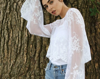 Crop Top, Vintage, Boho Clothing, Lace Crop Top, White Lace, Boho Top, Lace, 70s Top, Beach Coverup, Angel Sleeve 70s, Crochet Top, Bridal T
