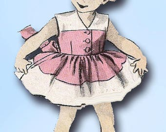 1950s Vintage Advance Sewing Pattern 5799 Cute Toddler Girls Sun Dress Size 6