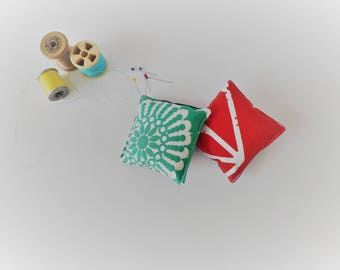 Recycled Fabric Swatch, Scrap and Offcut Pin Cushion with Eco Friendly Wadding, Red or Green Pattern.