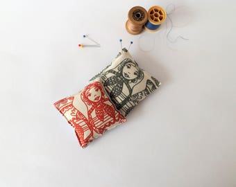 Recycled Fabric Swatch, Scrap and Offcut Pin Cushion with Eco Friendly Wadding, Russian Dolls Prints