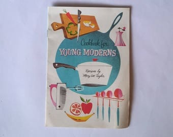 Vintage 1957 Cooking for Young Moderns bookbook by Mary Lee Taylor for Pet Milk Co. with adorable Mid-Century Modern illustrations
