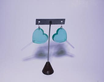 Minty Clear Kawaii Heart Shaped Valentines Faux Candy Lollipop Stud Post ONE OF A KIND Earrings