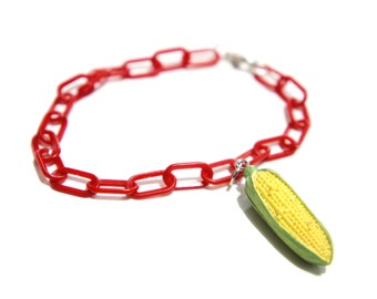 RARE Japanese Re-Ment Miniature Corn / Elote on the Cob Kitsch Charm Light Red Curb Chain Bracelet