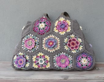 Kaleidoscope Hobo Bag Crocheted Flowers, Colorful Boho Purse