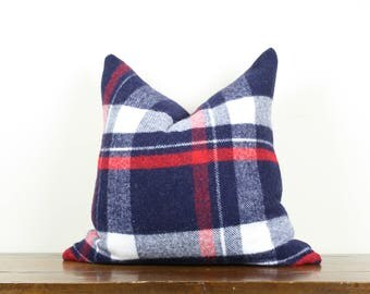 "20""x20"" Blue and Red Plaid Vintage Wool Pillow Cover 