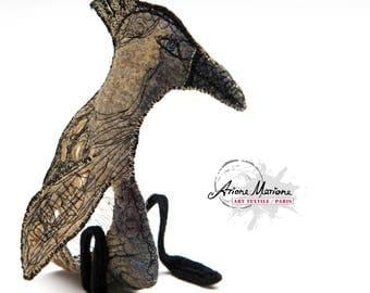 Collectible Textile Art - Fancy Critter Sculpture - Original Certificate Art Paris Made
