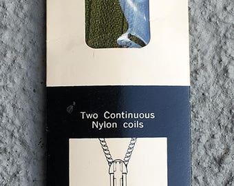 "20"" moss green Talon Zephyr neckline zipper - NYLON. Style 110-1. 1970s."