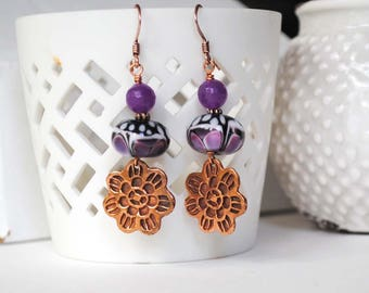 Flower Earrings, Purple Earrings, Lampwork Earrings, Glass Bead Earrings, Butterfly Earrings, Garden Earrings, Nature Inspired Earrings