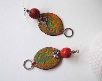 Orange Ethnic Earrings, Green Earrings, Oval Earrings, Unique Artisan Earrings, Tribal Shield Earrings, Modern Boho Earrings, Enamel Earring
