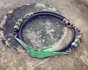 Soaring bird leather wrap bracelet // choker // pretty mixed media bohemian style jewelry // handmade // earthy rustic style // versatile