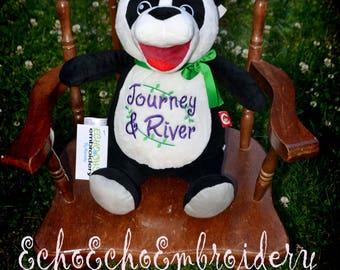 Panda bear Birth Announcement Baby Keepsake Plush Stuffed Animal Cubbie Personalized