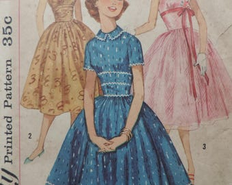 1950s Simplicity 1892 Sewing Pattern Teen Age Fit and Flare Dress Size 10
