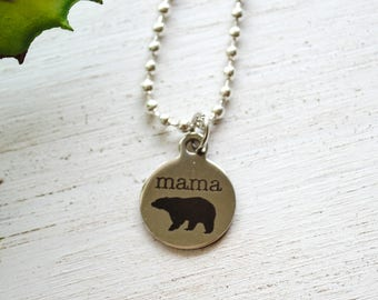 Mama Bear Necklace - Mom Necklace - Mom and Me - Back to School, Mom Gift, Mother's Day