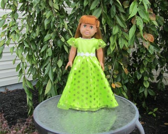 Beautiful green party dress fits dolls like American Girl