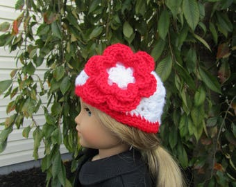 Crochet flower hat fits dolls like American Girl and Bitty Baby/Twin