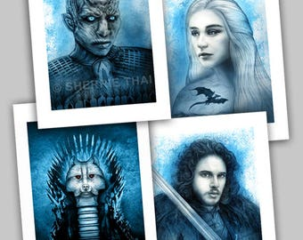 Game of Thrones Portraits, Jon Snow, Whitewalker Night King, Daenerys Targaryen, and Longclaw Sword Designs, Mini Art Prints, Set of 4