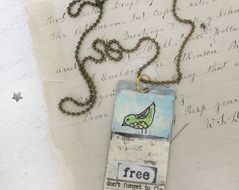 free~upcycled bird pendant, altered jewelry, repurposed jewelry, hand painted pendant, ball chain, bird whimsy, collage