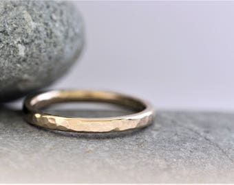 2mm court section hammered wedding ring in recycled 9ct yellow gold, ethical wedding ring.