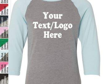 Personalized T-Shirt Next Level - Youth CVC Three-Quarter Sleeve Raglan T-Shirt - 3352 Custom Made T-Shirt with Vinyl or Glitter Print