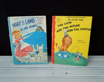 Action Books - Two Children's Books - Mary and Her Lamb go into Business & The Lion and The Mouse Join The Circus  - Vintage