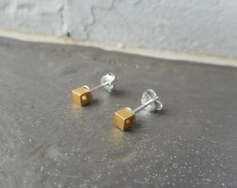 The Hexed Earrings. Teeny Tiny 24K Vermeil (gold over sterling) Open Cube & Solid sterling silver ear post stud earrings. Chymini collection