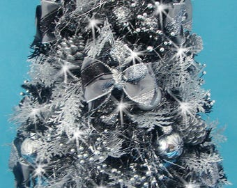 """Black and Silver Mini Tabletop Christmas Tree - 23"""" - Centerpiece - 50 LED Battery Operated Lights - Tree Skirt with Matching Presents"""