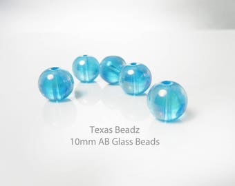 10mm AB Aqua Blue Beads Iridescent 20pcs Glass Beads Round Smooth Loose Beads Aurora Borealis