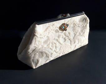 Lace clutch, ivory clutch, sequin clutch, off white clutch, bride clutch, wedding accessories, shimmer clutch, evening bag, rhinestone pin
