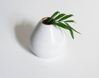 Bud Vase; White and Gold Vase, Handmade Pottery Vase; Ceramic Vase, White Pottery;