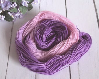 Hand Dyed Thread - Tatting / Crochet Thread - Size 10 - Bubblegum Violets - 50 Yards