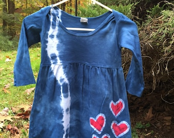 Girls Tie Dye Dress, Blue Girls Dress, Blue Heart Dress, Patriotic Girls Dress, Long Sleeve Girls Dress, Girls Cotton Dress (4T)
