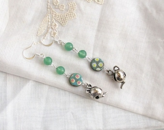 Mint Tea  Dangle  Earrings  Teapot Kettle Aventurine Czech Peacock beads Green Seafoam
