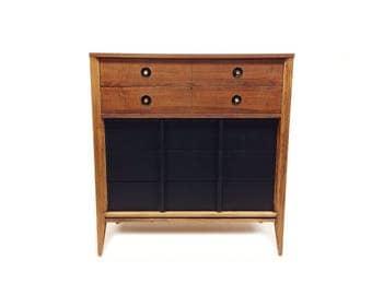 Vintage Mid Century Dresser In Black and Wood
