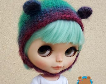 Purple and greens bear hat for Neo Blythe