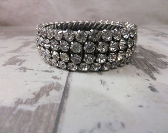 Vintage Rhinestone Bracelet 4 Row Stretch Clear Silver Tone Sparkly Wedding Costume Jewelry 1950s Flex