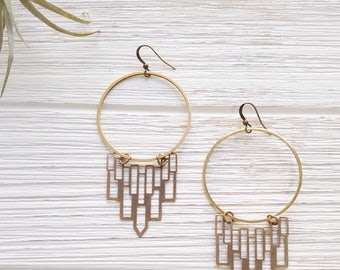 Gypsy Earrings Boho Hoops Brass Hoop Earrings Art Deco Earrings Geometric Earrings Boho Earrings Hoop Statement Earrings Chandelier Earrings