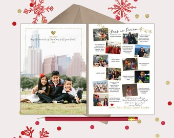 Miracle of Christmas Year in Review Christmas Card · 12 photos and captions to tell about your year · modern white and gold design