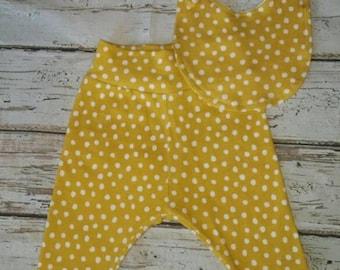 Yellow Polka Dot Baby Bib and Pants Set