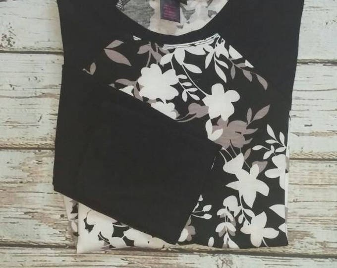 Black White and Gray Floral Baseball Sleeve Tunic