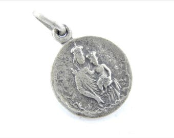 Vintage French Our Lady of the Guard Catholic Medal - Notre Dame de la Garde Religious Charm - Catholic Jewelry 044