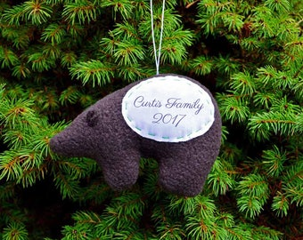 Bear Personalized Christmas Ornament, Family Personalized Ornament, Child Custom Brown Bear Ornament