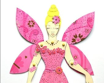 Fairy Princess Doll, Fairy Paper Doll, Jointed paper Doll, Fairy Princess Paper Doll, Articulated Paper Doll, Pink Fairy Doll, Princess