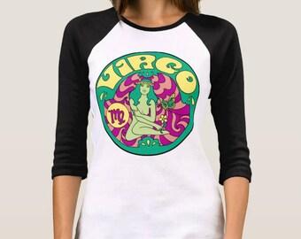 Virgo T Shirt... Virgo Birthday... Virgo Gift... 3/4 Length Sleeves... Unisex Style... 60s 70s Inspired