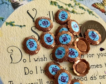 6 Vintage enamel Findings,Guilloche Cabochons,Rose Cabochons,NOS Rose , blue enamel, Ornate Cabochons, #G15P