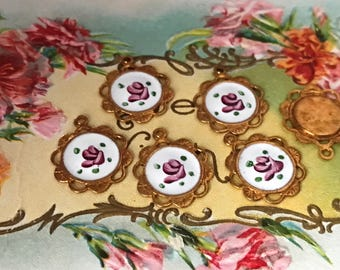 4 Vintage Guilloche Charms, Round charms, Enamel charms, Filigree charms, Victorian charms, vintage adornments NOS, Brass Charms, #G123B
