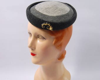 1950s Grey cocktail hat - multi-tone grey - 50s grey wool hat // The Grand - Toy Hat