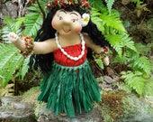 """Ooak 10"""" Art Doll, Opua, the Hula Dancer"""