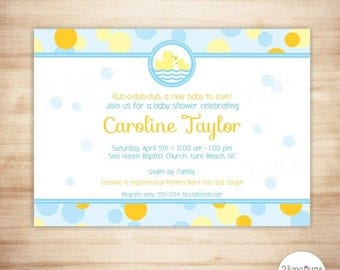 Rubber Duck Baby Shower Invitation, Rubber Ducky Baby Shower Invite, Baby Boy or Neutral Baby Shower Theme - EDITABLE, PRINTABLE